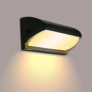 Lightsjoy Lámpara de Pared Exterior Aplique de Pared LED 10W Impermeable IP65 Luz de Aluminio Acrílico Moderna Iluminación paea Escalera, Jardín, Patio, 3000K Blanco Cálido