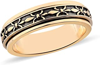 Shop LC 14K Yellow Gold Plated Statement Moon Star Spinner Ring Costume Stylish Unique Fashion Jewelry for Women Mothers D...