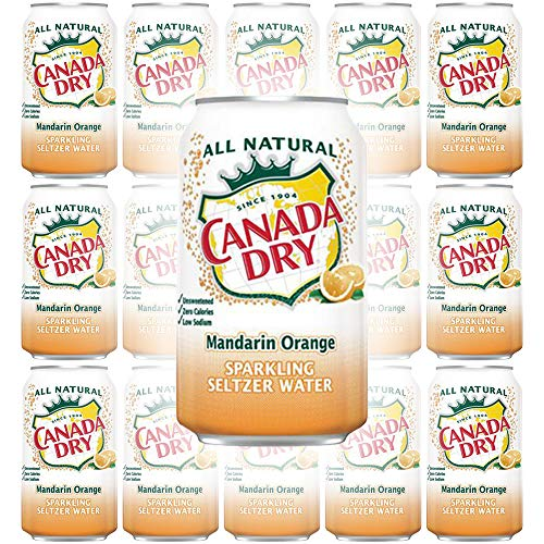 Canada Dry Mandarin Orange, Sparkling Seltzer Water, 12oz Can (Pack of 15, Total of 180 Oz)