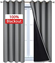 Yakamok 100% Blackout Curtains, Thermal Insulated Soundproof Curtain Panels, Full Light Blocking Drapes with Black Liner for Bedroom W52 x L45 Grey