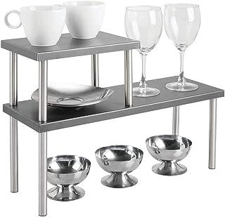 mDesign étagère cuisine à 2 étages – range vaisselle étroit pour plans de travail et dans les armoires – rangement cuisine...