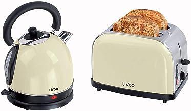 Set petit-déjeuner avec grille-pain, bouilloire électrique rétro Beige 1,8 l 1800 W – 2 tranches grille-pain en acier inox...