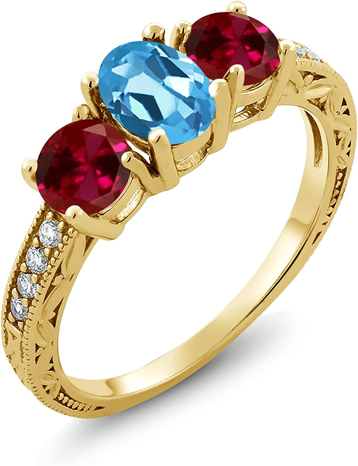 Gem Courier shipping free shipping Stone King 3.12 Ct Swiss Blue 18K Sales for sale Created Topaz Ruby Yel Red
