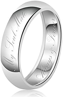 TIONEER Sterling Silver Ring, Wedding Band for Men and Women, My Soul Mate Always & Forever Pre-Engraved Dome, 3mm - 8mm W...