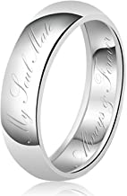 8mm My Soul Mate Always & Forever Engraved Classic Sterling Silver Plain Wedding Band Ring