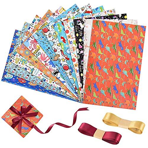 heekpek Geschenkpapier,Geschenkverpackung Papier Umweltfreundlich Gefaltetes Papier Geschenkpapier Rolle Geburtstag Hochzeit Weihnachten für Geschenke 50 * 70cm (O#12PCS)