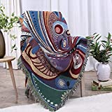 Versátil 130cmX160cm algodón Multicolor Boho la Manta del Tiro Mantas Decorativo de algodón Tejido Hecho a Mano la Manta del sofá de la Manta sofá (Color : B, Size : 130cmX160cm)