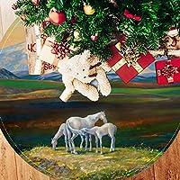ツリースカート クリスマスツリースカート 平野 馬 雪山 ホリデーデコレーション メリイクリスマス飾り 下敷物 可愛い 雰囲気 クリスマスパーティー 直径77cm