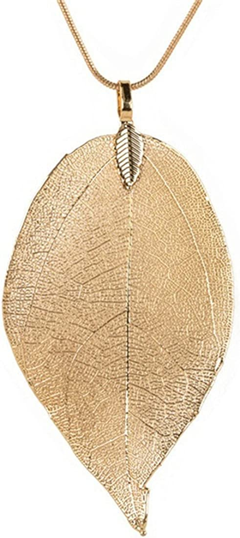 Edtoy Leaves Long Necklace Leaf Sweater Chain Pendant Fashion Accessories
