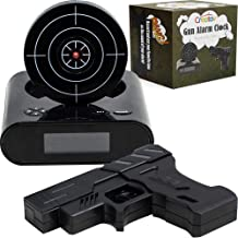 CREATOV DESIGN Target Alarm Clock with Gun - Infrared Target and Realistic Loud Sound Effects Fun Pistol Game Clocks for H...