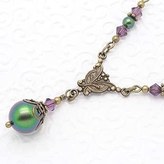 Scarabaeus Green Swarovski Simulated Pearl Necklace