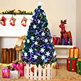 Goplus 7FT Artificial Christmas Tree Pre-Lit Fiber Optic Premium Spruce Hinged Tree W/UL...