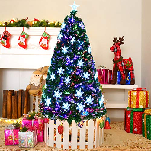 Goplus 7FT Artificial Christmas Tree Pre-Lit Fiber Optic Premium Spruce Hinged Tree W/UL Certified Multicolored LED Lights & Metal Stand