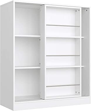 Homfa Kids Bookcase 3 Tier, Toy Organizer Cabinet with Sliding Book Shelf, Free Standing Display Storage Shelves Kid's Ro