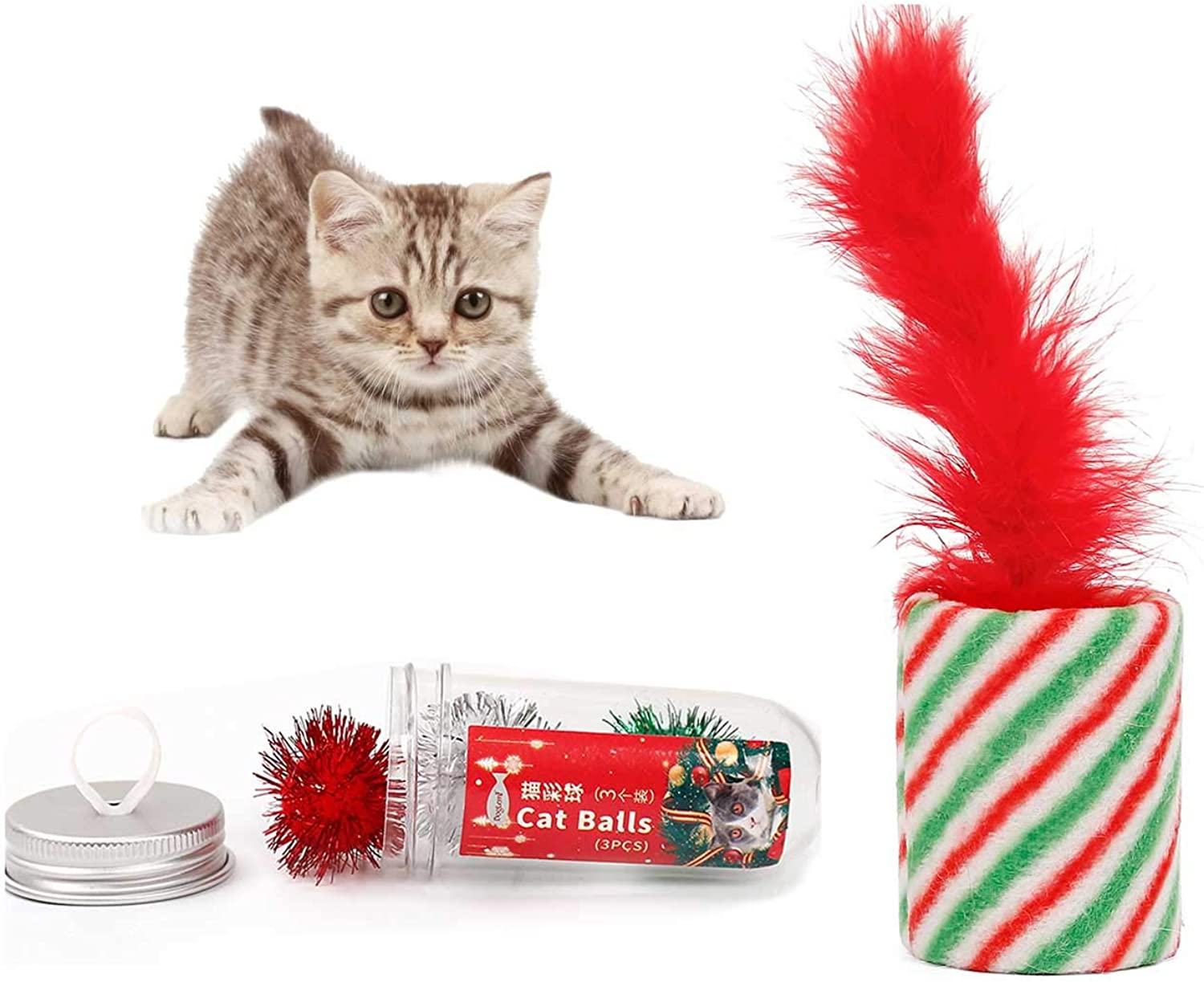 ALIOO Handheld Christmas Cat Toy Interactive Feather Xmas Cylindrical and Pellet