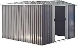 Goplus Galvanized Steel Outdoor Garden Storage Shed 8.5 x 8.5 Ft Heavy Duty Tool House W/Sliding Door (Gray)