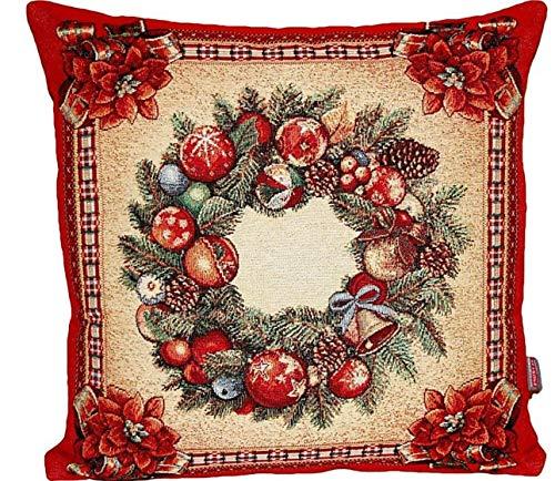edle Kissenhülle 45x45 cm Gobelin Weihnachten Nostalgie Rot Landhaus Weihnachtskissen (Kissenhülle 45x45 cm)