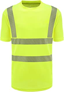 AYKRM Hi Viz VIS High Visibility t Shirt Reflective Tape Safety Security Work T-Shirt Workwear