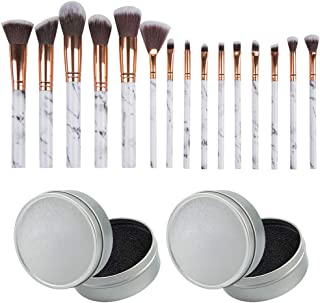 Set of 17, Brush Color Removal Sponge and Makeup Brushes Set, findTop 2 Pieces of Dry Makeup Brush Quick Cleaner Sponge and 15 Pieces of Cosmetic Brushes