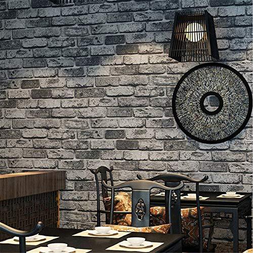 WJY Papel Pintado Wallpaper Modelo del Papel Pintado 3D Gris del ladrillo Ladrillos Fondo de Pantalla China Antigua Pared de Papel Decoración for el Hogar (10mx53cm)