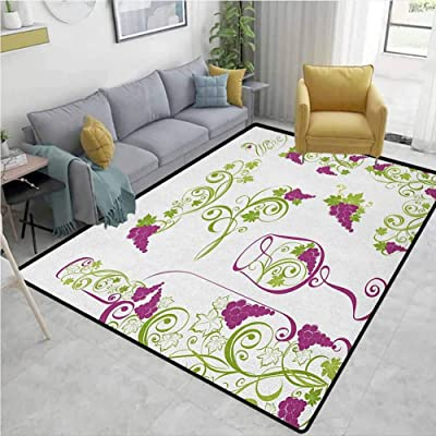 Round Floor Mat Bedroom Living Room Area Rugs Sleeping Cute Fox Floral Branches
