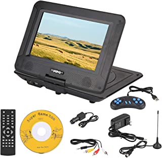 fosa Portable DVD Player 9.8in 3D Stereo Car DVD Player Game Playing Console Hundreds of TV Channels HD DVD Player, Supports U Disk, SD/MS/MMC Card with Car Charger & Power Adapter (Us Plug)
