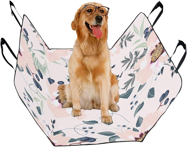 Fashion Oxford Pet Car Seat Dahlia Pink Vintage Hand Drawn Waterproof Nonslip Canine Pet Dog Bed Hammock Congreenible for Cars Trucks SUV