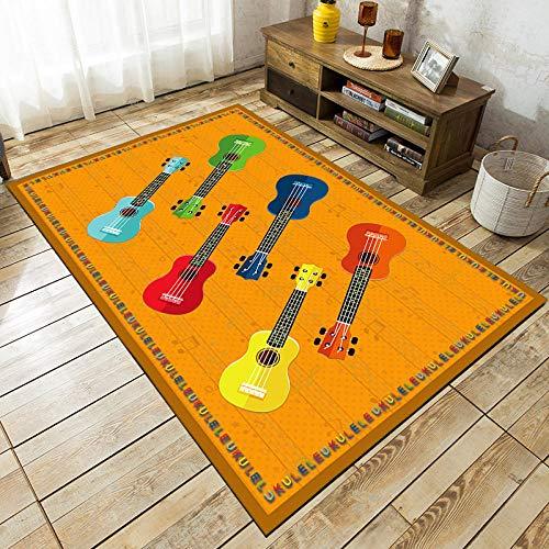 ZSDFPW Tapis Guitare colorée Jaune Rouge Vert Tapis Salon pour Couloir Soft Tapis à Poils Tapis de Sol antidérapant pour Salon Chambre Enfants 200 x 300 cm