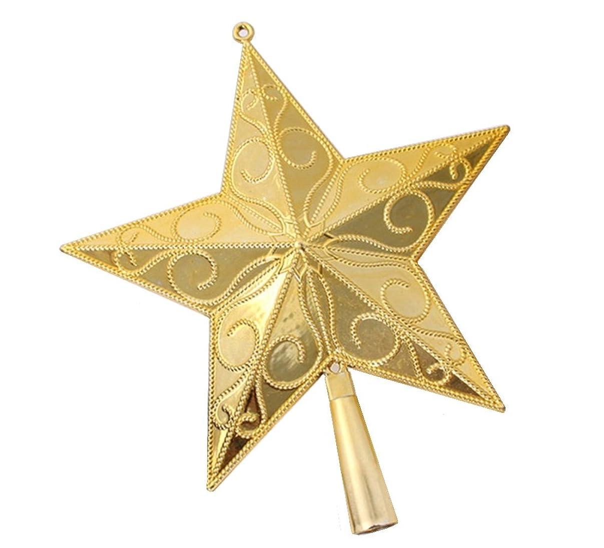 トークストロー性能クリスマス デコレーション 20cm 15cm アールデコ アラベスク ゴールド クリスマスツリー グリッター ホロー ツリートップ スター 星 オーナメント (20cm)