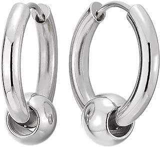 Stainless Steel Circle Beads Huggie Hinged Hoop Earrings for Men Women, 2pcs
