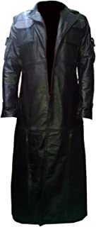 Men's The Punisher Frank Castle Thomas Jane Synthetic Leather Trench Coat Black