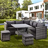 LIFE CARVER Garden Rattan Furniture 8 Pieces outdoor Patio Furniture Conner Sofa with Dining Table 2 Stools (Grey)