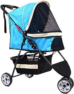 Pet stroller Outdoor Travel Pet Stroller,Three-Wheeled Pet Stroller,Collapsible Pet Stroller,Dog Pet Cart, Cats Use Pet Strollers,Pet Supplies (Color : Blue)