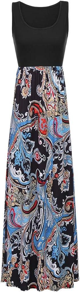 Sherosa Women Boho Chevron Striped Floral Printed Summer Sleeveless Tank Long Maxi Party Dress