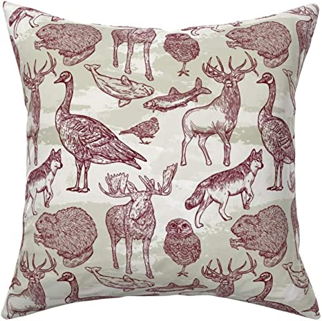 Canadiana Woodland Forest Animals Linen Cotton Throw Pillow Cover Into The Wild Animal Pattern Samposnick Nature Rustic Moose Caribou Owl Wolf Brown Green By Samposnick Cover W Optional Insert Home