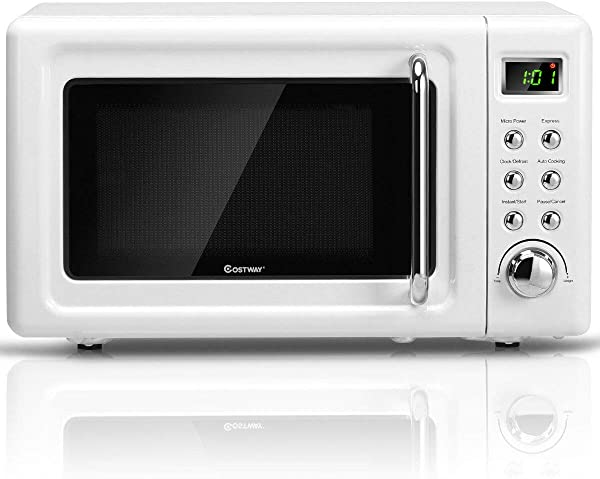 COSTWAY Retro Countertop Microwave Oven 0 7Cu Ft 700 Watt Cold Rolled Steel Plate 5 Micro Power Delayed Start Function With Glass Turntable Viewing Window LED Display Child Lock White