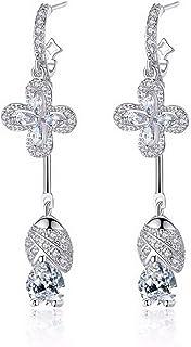 CS-DB Silver Round Natural Sky Blue Topaz Inlay Sapphire Flower Stud Charm Earrings