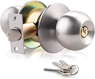XIUDI Keyed DoorKnob with Lock and Key for Bedroom,Privacy Door Knobs Satin Stainless Steel,Ball Door Handle,Privacy/Bedroom (Satin Stainless Steel)