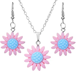 Vangelady Sunflower Necklace Earrings Set You are My Sunshine Pendant Chain Jewelry for Women Girls