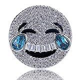 Moca Jewelry Iced out Laugh Cry Emoji Face con Anillo de lágrimas Chapado en Oro de 18 K con circonitas cúbicas de imitación de Diamante Hip Hop Anillo para Hombres y Mujeres