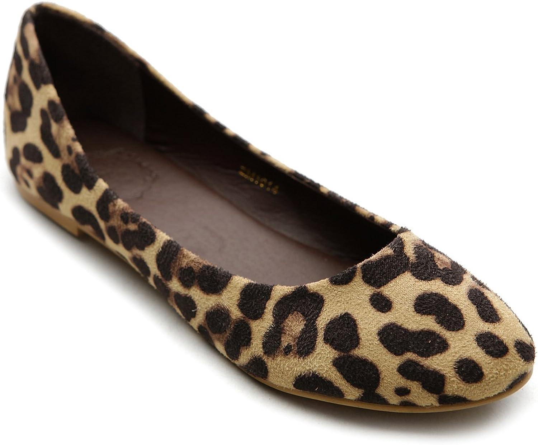 Ollio Womens shoes Ballet Light Faux Suede Low Heels Flat