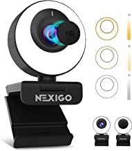 60FPS AutoFocus Webcam with Ring Light & Privacy Cover, [Software Included], 2021 NexiGo N620E 1080P FHD Streaming Web Cam...