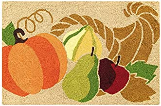 22 X 34 Inches Hooked Rug, Cornucopia, Thanksgiving, Fall Harvest
