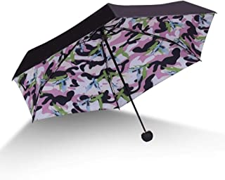Individuality 50% Umbrella Rain Women Black Coated Parasol Outside Travel Small Pocket Umbrella Hyococ (Color : Pink)