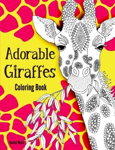 Adorable Giraffes Coloring Book Gentle Cute Giraffes in Zentangle Doodle Patterns For Kids and product image