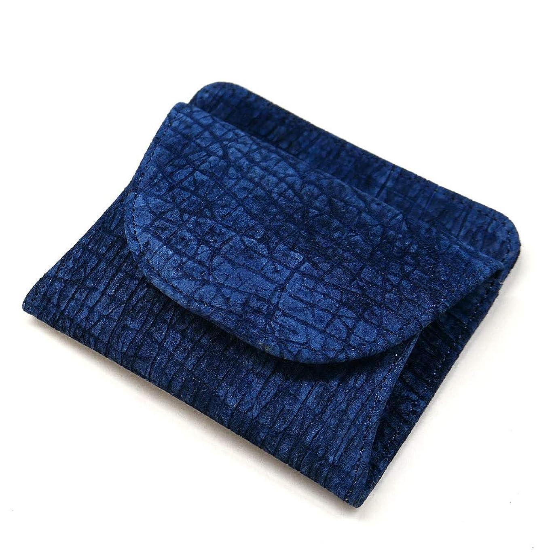 唇誤解ロールAIZOME-HIPP1000 財布 札入れ ボックス型 小銭入れ付 本革 カバ革 ヒポポタマスレザー 藍染