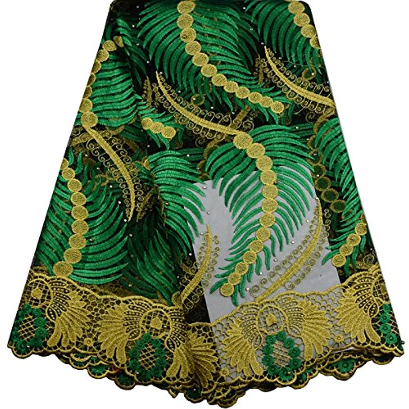 KENLACE 5Yards African Cord Lace French Lace Fabric with Stones Blue Color African Lace Fabric for Nigerian Wedding Dress (Green)