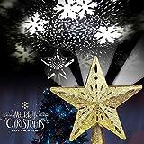 BYMEMYR Decoración De Estrella De Decoración De Árbol De Navidad 3D, Luces De Proyector Adornos Iluminados En 3D Con Copo De Nieve Giratorio LED Decoraciones De Árbol De Navidad for Festivales Fantást