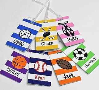 Personalized Monogrammed Kids Sports Bag Tag - Baseball - Soccer - Basketball - Tennis - Volleyball - Dance - Hockey - Football - Boys & Girls