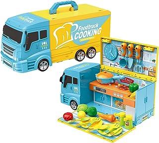 2 IN 1 Kid Kitchen Toy Truck Dinnerware Pretend Play Cooking Table Children's 33pcs